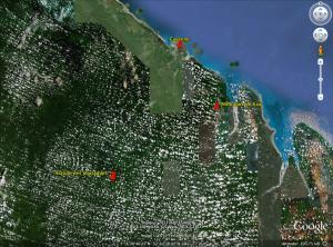 Situation géographique des différents sites de prospections en Guyane française