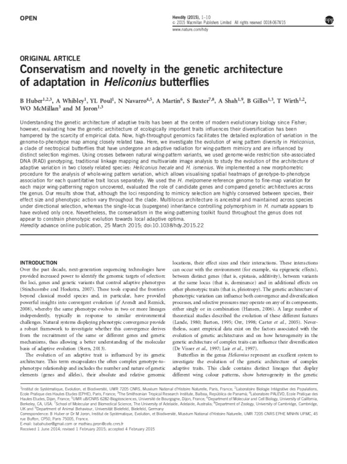 Article publié dans la revue Nature/Heredity du 25 mars 2015
