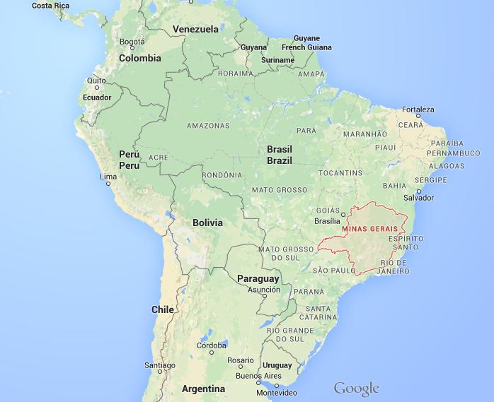 Carte 1 : Carte du Brésil et de l'état de Minas Gerais (Source Google Map)