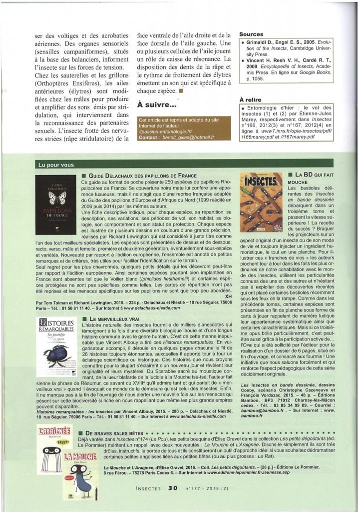 Le vol des insectes : Anatomie de l'aile, publié dans la revue Insectes (juillet 2015, n°177)