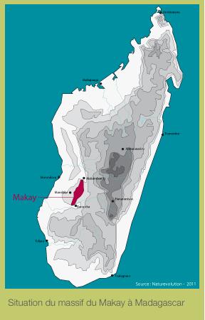 Situation géographique de la région du Makay à Madagascar